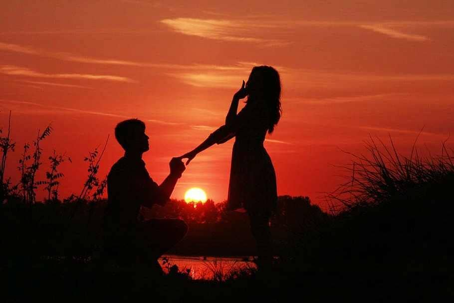 Couple LoveSunset Proposal Marriage